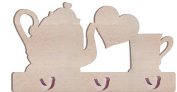 - KD30 Kupa Çaydanlıklı Kalpli Anahtarlık Askılık Ahşap Obje