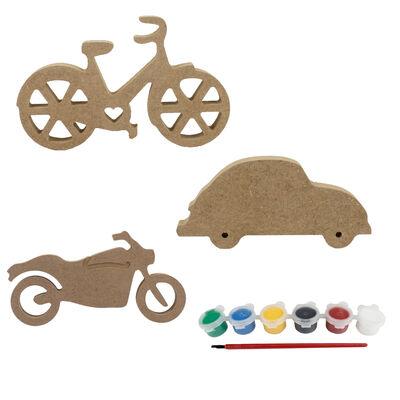 - BS18 Ahşap Bisiklet, Araba, Motorsiklet Boyama Seti