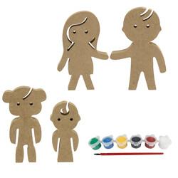 - BS21 Ahşap Anne, Baba, Kız Çocuğu, Çocuk Boyama Seti