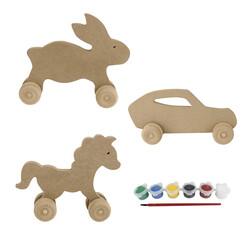 - BS22 Ahşap Tekerlekli Oyuncak Boyama Seti Tavşan, At, Araba