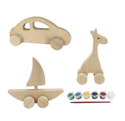 - BS24 Doğal Ağaç Tekerlekli Oyuncak Boyama Seti Araba, Yelkenli, Zürafa