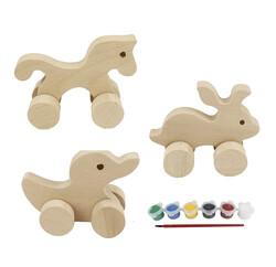 - BS25 Doğal Ağaç Tekerlekli Oyuncak Boyama Seti Ördek, Tavşan, At