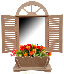 - Ç10 Panjurlu Pencere Çiçeklik Aynalık Dekoratif Ahşap Obje