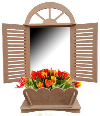 Ç10 Panjurlu Pencere Çiçeklik Aynalık Dekoratif Ahşap Obje