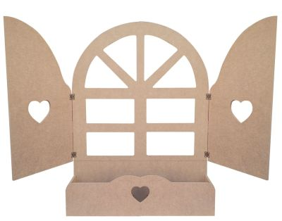 Ç11 Kanatlı Kalpli Büyük Pencere Ahşap Obje