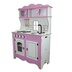 ÇG39 Ahşap Çocuk Mutfağı Pembe Pencereli - Thumbnail