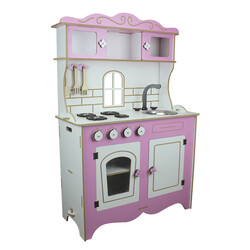 - ÇG39 Ahşap Çocuk Mutfağı Pembe Pencereli
