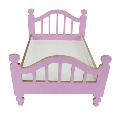 ÇG49 Ahşap Renkli Oyuncak Bebek Yatağı 35 cm