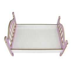 ÇG49 Ahşap Renkli Oyuncak Bebek Yatağı 35 cm - Thumbnail