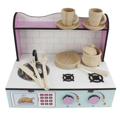 ÇG61 Ahşap Masaüstü Çocuk Mutfağı Eşyalı