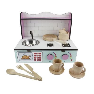 - ÇG61 Ahşap Masaüstü Çocuk Mutfağı Eşyalı