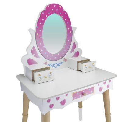 ÇG68 Ahşap Çocuk Makyaj Masası Seti