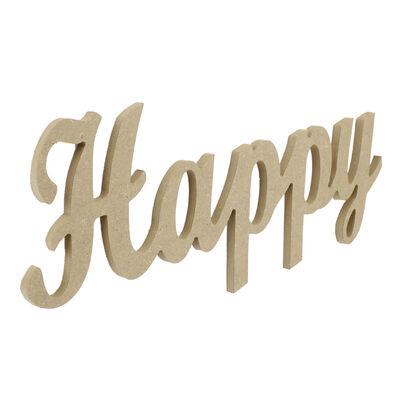 D52 Ahşap Happy Yazısı