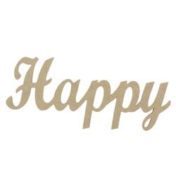 D52 Ahşap Happy Yazısı - Thumbnail