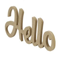 D54 Ahşap Hello Yazısı - Thumbnail