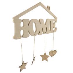 D6 Çatılı Home Kapı Süsü Ahşap Obje - Thumbnail