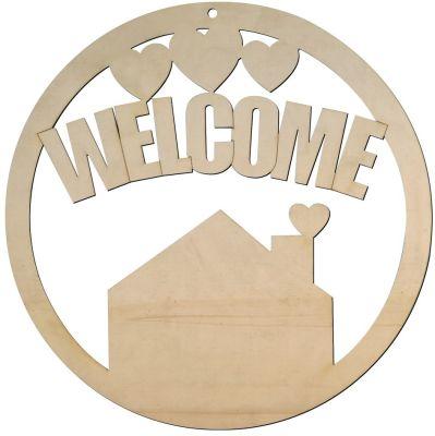 KD38 Welcome Yuvarlak Kapı Süsü Ahşap Obje
