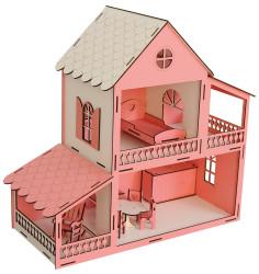 EV11 Pembe Barbie Ev 45 cm Eşyalı - Thumbnail