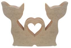 - F12 İkili Kedi Kalpli Figürü Biblo Ahşap Obje