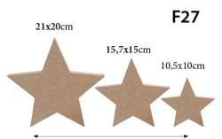 - F27 Üçlü Set Yıldız Figürü Biblo Ahşap Obje