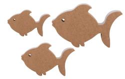 - F28 Üçlü Balık Set Ahşap Biblo