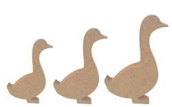 - F7 Üçlü Ördek Set Figürü Biblo Ahşap Obje