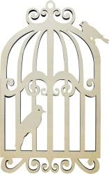 - KD43 Kafes İki Kuşlu Kapı Süsü Ahşap Obje