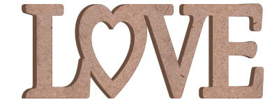 M22 Love Birleşik Yazı Ahşap Obje
