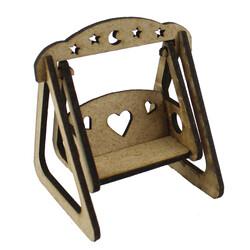 - My16 Minyatür Salıncak Kalpli Yıldızlı Ahşap Obje