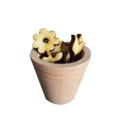 - My27 Minyatür Saksı Çiçeklik Ahşap Obje
