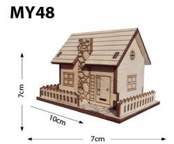 - My48 Minyatür Ev Ahşap Obje