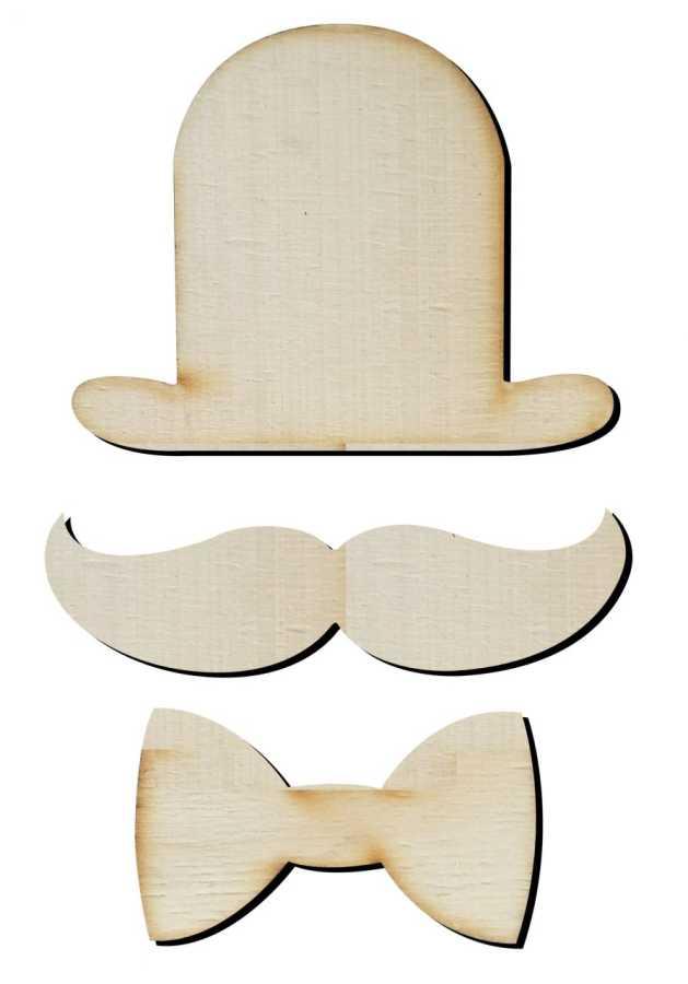 O29 şapka Bıyık Fiyonk Paket Süs Ahşap Obje Minik Objeler