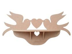 - R9 İki Kuşlu Kalpli Raf (Demonte) Ahşap Obje