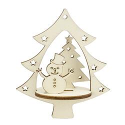 YB52 Yılbaşı Ağaç Süsü Kardan Adam Çam Ağacı - Thumbnail