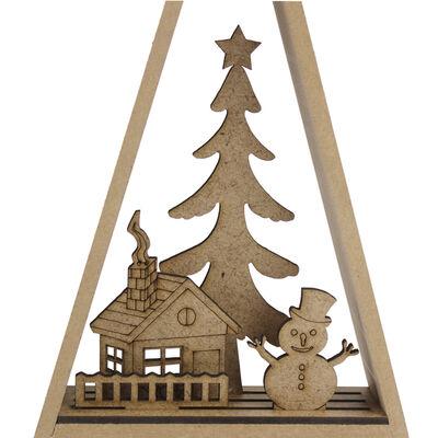 YB57 Dekoratif Ahşap Yılbaşı Süsü Kardan Adam Ev